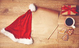 Wish list for Christmas gifts and the presents Stock Photos