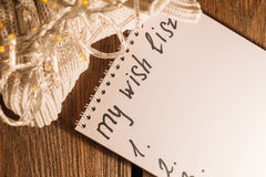 Wish list for Christmas top view Royalty Free Stock Images