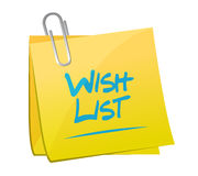 Wish list memo post sign concept Royalty Free Stock Image