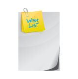 Wish list paper and memo post sign concept Stock Images
