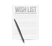 Wish list paper and pen illustration Stock Images
