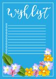The wish list vector illustration with floral motifs, hand-lette. Ring, for design and personal use Royalty Free Stock Images