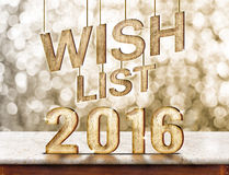 Wish list 2016 wood texture on marble table with sparkling bokeh Stock Photo