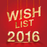 Wish list 2016 wood texture at red studio room background,holida Royalty Free Stock Image