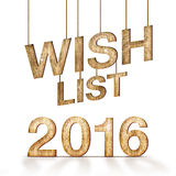 Wish list 2016 wood texture at white background,holiday concept Royalty Free Stock Photography