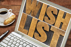 Wish list word abstract on laptop Royalty Free Stock Photo