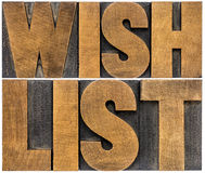 Wish list word abstract typography in wood type Royalty Free Stock Images