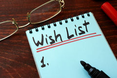 Wish list. Written on a notepad with marker Royalty Free Stock Photography