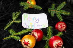 The wish of Merry Christmas in English Stock Photo