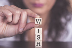 Wish message formed with wooden blocks Royalty Free Stock Image
