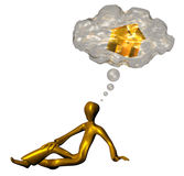 Wish in mind. 3d golden character dream his golden hause Royalty Free Stock Images