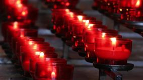 Wish Praying Candles in Church stock video