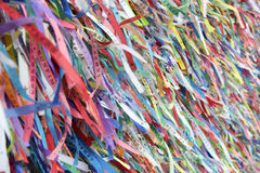 Wish Ribbons Famous Bonfim Church Salvador Bahia Brazil. Wall of wish ribbons from the famous Igreja Nosso Senhor do Bonfim da Bahia church in Salvador Bahia stock photography
