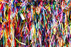 Wish ribbons`s church Nosso Senhor do Bonfim, a catholic church located in Salvador, Bahia in Brazil. royalty free stock image