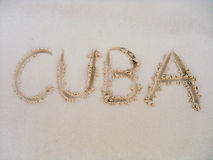 Wish in the sand. Hand writing in the sand of a beach in Cuba Stock Image