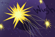 Wish Upon a Star. Conceptual depiction of Wish Upon a Star with glowing stars, sparkle tails, a planet and hand drawn wish text Royalty Free Stock Photography