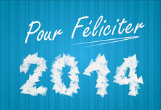 Wish to new year 2014. On blue background royalty free illustration