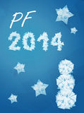Wish to new year 2014. Blue background stock illustration