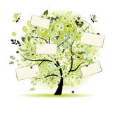 Wish tree floral with cards for your text Royalty Free Stock Photos