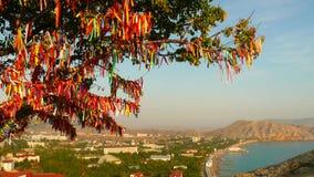 Wish Tree with red ribbons - Crimea. Wish Tree with red ribbons in the Crimea, Ukraine Royalty Free Stock Photo