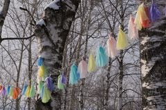 Wish tree religion shelf silk spirituality summer,. Wish tree religion shelf silk spirituality summer Royalty Free Stock Image