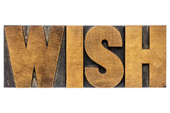 Wish word typography in wood type Stock Image