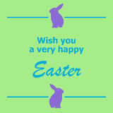 Wish you happy Easter. Happy Easter graphic with the words, Wish you a very happy Easter, with two bunny rabbit silhouettes.  Green background Royalty Free Stock Photos