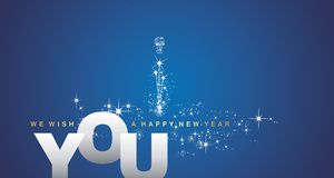 We wish you a Happy New Year silver blue background. We wish you a Happy New Year gold silver blue background vector Stock Images
