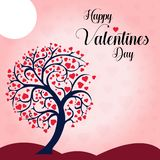 Wish you a Happy Valentine`s Day Heart Tree background Vector Illustration royalty free illustration