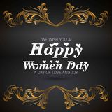 Wish you a happy women\'s day card with dark background. For web design and application interface, also useful for infographics. Vector illustration Stock Photos