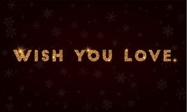 Wish you love. Golden glitter greeting card. Luxurious design element, vector illustration Royalty Free Stock Photography