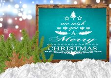 We Wish You A Merry Christmas on blank blue blackboard with blur. Close Stock Photography