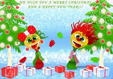 We wish you a Merry Christmas and a Happy New Year royalty free illustration