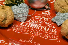 We wish you a merry Christmas and Happy New Year decorated plate Stock Image