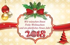 Happy New Year 2018 greeting card in German language Royalty Free Stock Photo