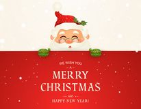 We Wish you a Merry Christmas. Happy new year. Santa Claus character with big signboard. Merry Santa Clause with jingle royalty free stock photography