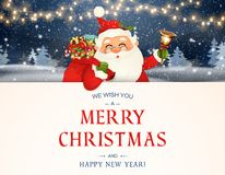 We Wish you a Merry Christmas. Happy new year. Santa Claus character with big signboard. Merry Santa Clause with jingle royalty free illustration