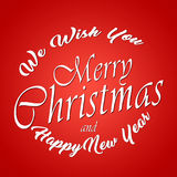 We Wish You Merry Christmas And Happy New Year. Typographic Background. Original design element. Template, card, poster. emblem. royalty free illustration