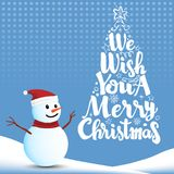 We wish you a Merry Christmas with Snowman royalty free illustration