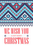 We wish you a very Merry Christmas. Greeting card. National ornament. Vector pattern. We wish you a very Merry Christmas. Greeting card. National north ornament royalty free illustration