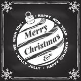 We wish you a very Merry Christmas and Happy New Year stamp, sticker set with christmas bell. Vector illustration. We wish you a very Merry Christmas and Happy royalty free illustration