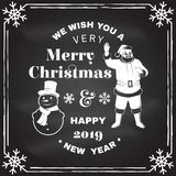 We wish you a very Merry Christmas and Happy New Year stamp, sticker set with snowmans and Santa Claus. Vector. We wish you a very Merry Christmas and Happy New royalty free illustration