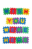 Wish you were here. Message Wish you were here, from letter puzzle, isolated on white background Stock Image