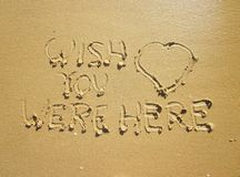Wish you were here with a big heart above royalty free stock images