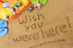 Postcard writing Wish you were here. Postcard message wish you were here summer vacation Stock Photo