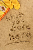 Postcard writing Wish you were here. Postcard message beach summer vacation wish you were here Stock Photos