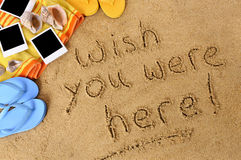 Wish you were here summer post card message Royalty Free Stock Photo