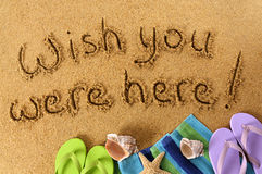 Wish you were here post card message Stock Images