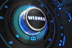Wishes Button with Glowing Blue Lights Stock Image