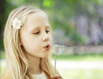 Wishes - girl outdoors Stock Photo